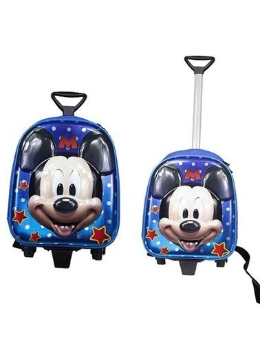 Bebebebek Mavi Mickey Mouse Okul Çantası- Çekçekli Kabartmalı Okul Çantası-35X25 Renkli